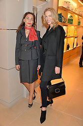 Left to right, JEANNE MARINE and PRISCILLA WATERS at a Valentine's Ladies breakfast hosted by Tod's and Carolina Bonfiglio at the Tod's boutique in New Bond Street, London on 10th February 2015.