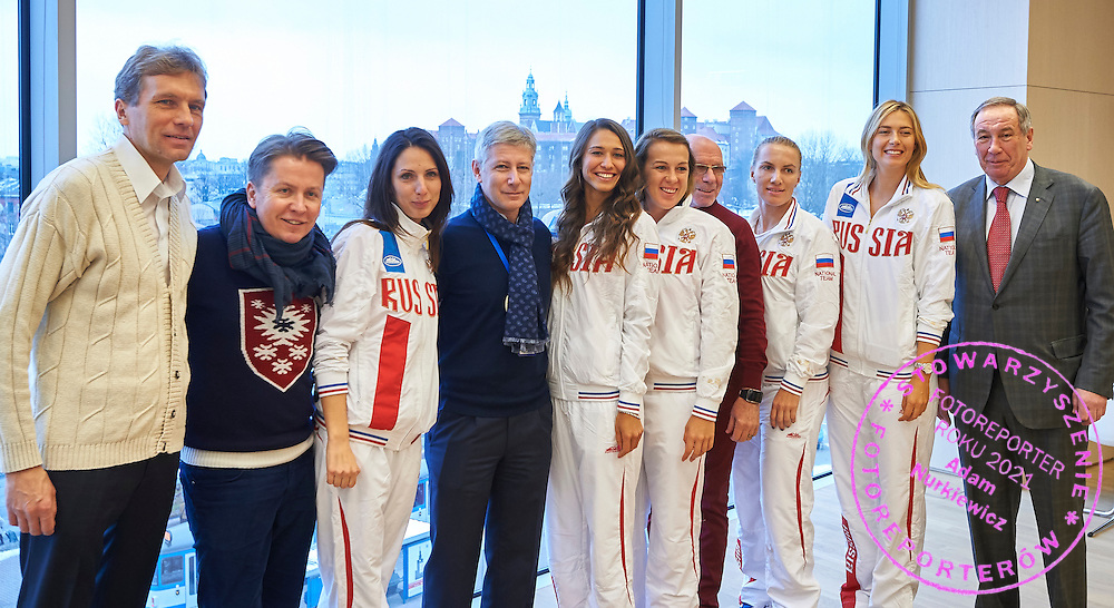 (5L) Vitalia Diatchenko and (6L) Anastasia Pavyuchenkova and (3R) Svetlana Kuznetsova and (2R) Maria Sharapova and (3L) trainer coach Anastasia Myskina all from Russia during official draw one day before the Fed Cup / World Group 1st round tennis match between Poland and Russia at Holiday Inn on February 6, 2015 in Cracow, Poland.<br /> <br /> Poland, Cracow, February 6, 2015<br /> <br /> Picture also available in RAW (NEF) or TIFF format on special request.<br /> <br /> For editorial use only. Any commercial or promotional use requires permission.<br /> <br /> Adam Nurkiewicz declares that he has no rights to the image of people at the photographs of his authorship.<br /> <br /> Mandatory credit:<br /> Photo by &copy; Adam Nurkiewicz / Mediasport