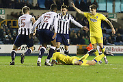 AFC Wimbledon midfielder Tom Beere (16) gets fouled during the EFL Sky Bet League 1 match between Millwall and AFC Wimbledon at The Den, London, England on 22 November 2016. Photo by Stuart Butcher.