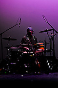 Jimmie Fadden on drums during the sound check for the Nitty Gritty Dirt Band at the Landis Theater in Vineland, NJ.