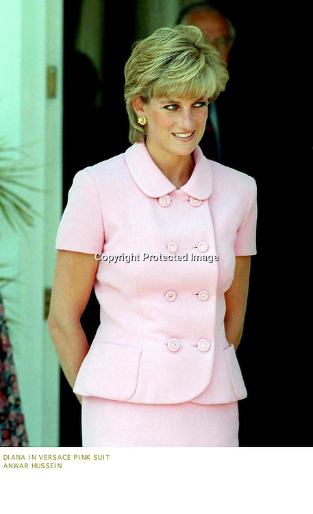 Diana. Princess of Wales wears a Versace pink suit in Argtentina in 1995.<br />Photo by Anwar Hussein