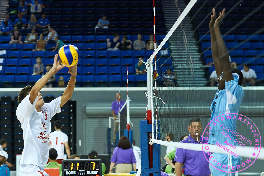 SO Serbia athlete (L) in action while volleyball men match between SO Serbia and SO Botswana during fourth day of the Special Olympics World Games Los Angeles 2015 on July 28, 2015 at Pauley Pavillon UCLA (University of California, Los Angeles) in Los Angeles, USA.<br />