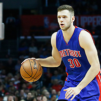 07 November 2016: Detroit Pistons forward Jon Leuer (30) dribbles during the LA Clippers 114-82 victory over the Detroit Pistons, at the Staples Center, Los Angeles, California, USA.