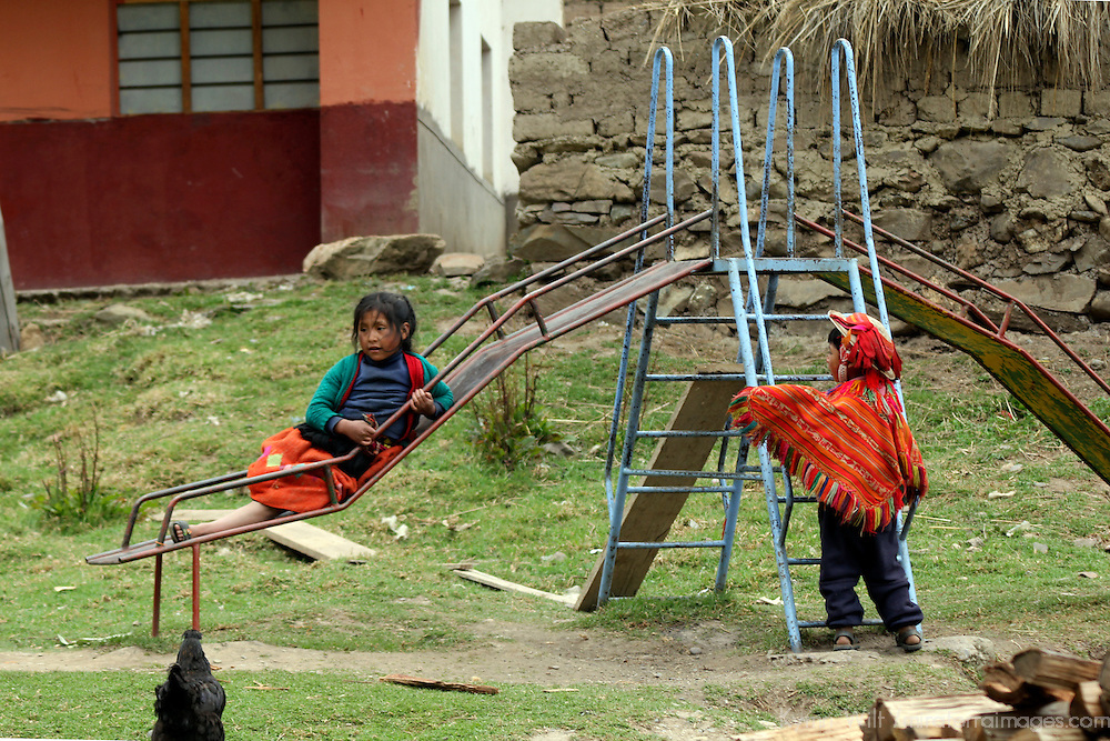 South America, Peru, Willoq. Playground in Willoq school.