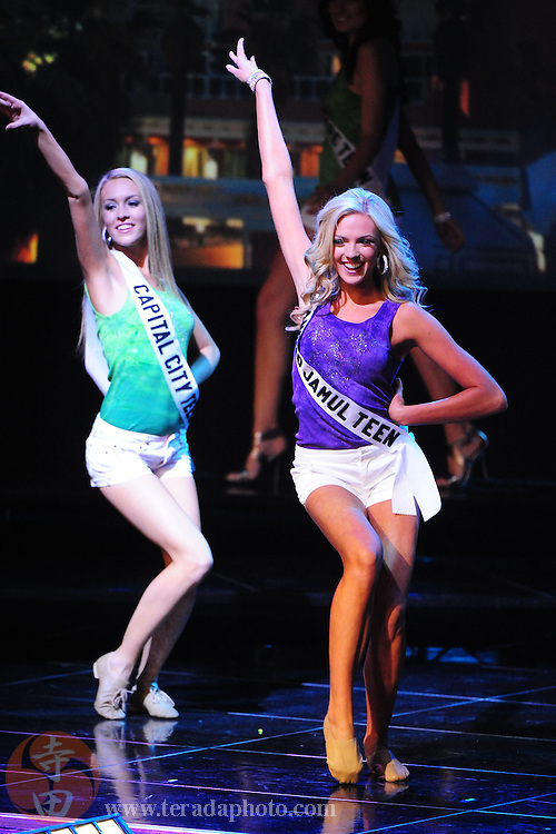 "November 22, 2009; Rancho Mirage, CA, USA; Miss Capital City Teen USA Alexandra Ritschard (left) and Miss Rancho Jamul Teen USA Alexis Swanstrom (right) during the Miss California Teen USA 2010 Pageant at ""The Show"" at the Agua Caliente Resort & Spa. Mandatory Credit: Kyle Terada-Terada Photo"