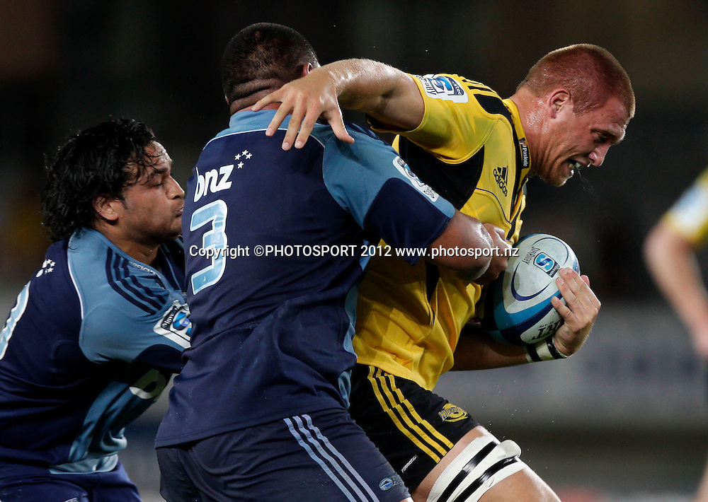 Hurricanes Brad Shields during the Super Rugby game between The Blues and The Hurricanes at Eden Park, Auckland New Zealand, Friday 23 March 2012. Photo: Simon Watts / photosport.co.nz