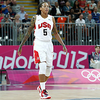 07 August 2012: USA Seimone Augustus rests during 91-48 Team USA victory over Team Canada, during the women's basketball quarter-finals, at the Basketball Arena, in London, Great Britain.