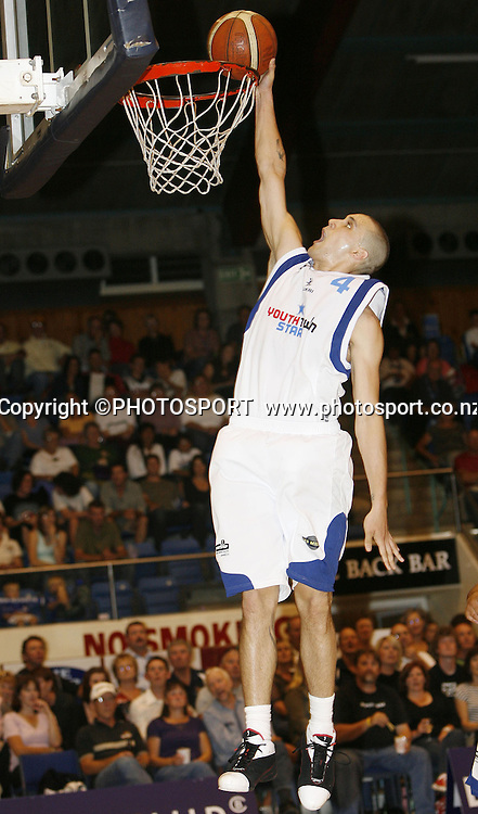 Auckland's Lindsay Tait goes up for a basket during the NBL basketball match between the Blue Chip Nelson Giants and the Youth Town Auckland Stars at the Trafalgar Centre, Nelson, New Zealand. Auckland won the game 81-79. Photo: Evan Barnes/Nelson Mail/PHOTOSPORT *** Local Caption ***