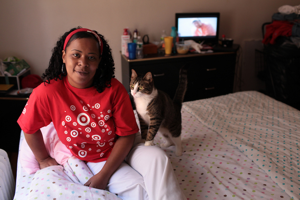Valley Stream Target employee Betsy Wilson, single mother of two children living in Queens, NY on June 3, 2011. Betsy Wilson is against the union coming into Target.