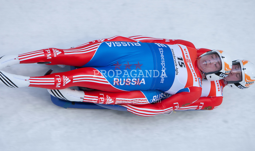 26.11.2011, Eiskanal, Igls, AUT, Viessmann Rennrodel Weltcup, Innsbruck, Herren Doppelsitzer 1. Durchgang, im Bild Vadislav Yuzhakov, Vladimir Makhnutin (RUS) // Vadislav Yuzhakov, Vladimir Makhnutin of Russia during Men's double seater 1st run at Viessmann Luge World Cup at Olympic ice canal, Innsbruck Igls, Austria on 2011/11/26.EXPA Pictures © 2011, PhotoCredit: EXPA/ Johann Groder