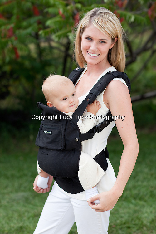 Baby carrier product photography, outdoor product photography, baby carrier picture, on location, natural product shots, Longmont, CO