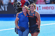Netherlands coach Alyson Annan celebrates winning the match with Malou Pheninckx of the Netherlands (5)  during the Vitality Hockey Women's World Cup 2018 Semi-Final match between the Netherlands and Australia, at the Lee Valley Hockey and Tennis Centre, QE Olympic Park, United Kingdom on 5 August 2018. Picture by Martin Cole.