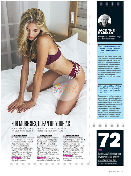 Don't sabotage your love life with a grubby home - it pays to clean up your act, according to advice in the June 2017 issue of Men's Health, Australia. <br />