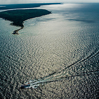 Aerial view of Mackinac Island and Bridge area of the Mackinaw Straits of Lake Huron and Lake Michigan