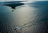 Aerial view of Mackinac Island and Bridge area of the Mackinaw Straits of Lake Huron and Lake Michigan