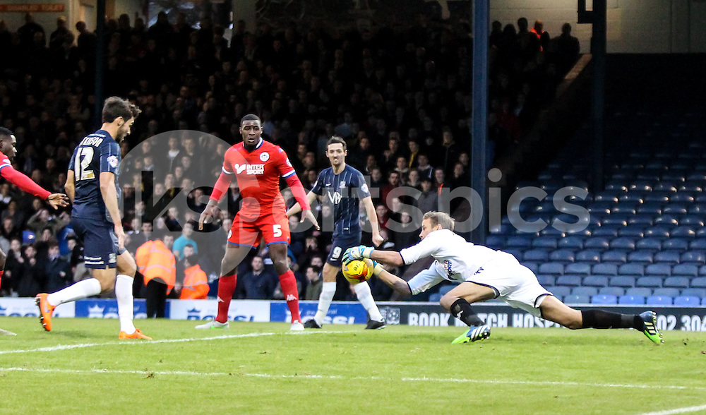 Jussi Jääskeläinen  of Wigan Athletic collects a cross during the Sky Bet League 1 match between Southend United and Wigan Athletic at Roots Hall, Southend, England on the 28th November 2015. Photo by Ken Sparks.