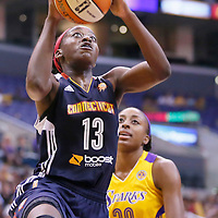 03 August 2014: Connecticut Sun forward Chiney Ogwumike (13) goes to the layup past Los Angeles Sparks forward Nneka Ogwumike (30) during the Los Angeles Sparks 70-69 victory over the Connecticut Sun, at the Staples Center, Los Angeles, California, USA.
