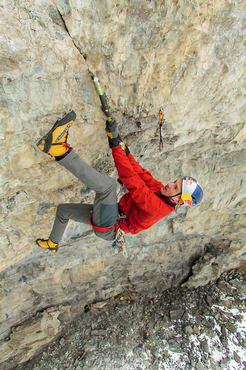 Will Gadd making his way up the crux pitch of the new route NoPhobia