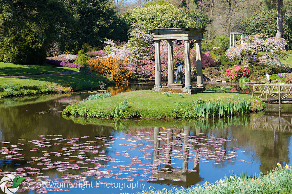 Spring colour in the Temple Garden at Cholmondeley Castle, Cheshire