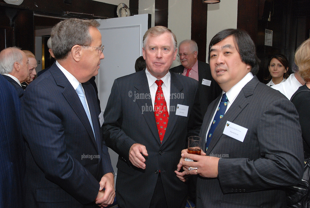 """Richard Levin, Dan Quayle and Harold Hongju Koh at the Maurice R. """"Hank"""" Greenberg Reception, 21 Club NYC 18 Sept 2007. Honoring the endowment of the David Boies Professorship of Law at Yale Law School."""