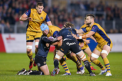Jordan Crane (capt) of Bristol Rugby is tackled by Michael van Vuuren of Bath Rugby - Rogan Thomson/JMP - 20/10/2016 - RUGBY UNION - The Recreation Ground - Bath, England - Bath Rugby v Bristol Rugby - EPCR Challenge Cup.