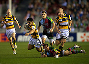 8.4.2011.  David Lemi of London Wasps brakes away during Harlequins and London Wasps in the quarter-final of the Amlin Challenge Cup at the Twickenham Stoop Stadium, London, England on 8 April 2011.