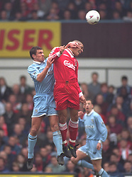 COVENTRY, ENGLAND - Saturday, April 6, 1996: Liverpool's Stan Collymore in action against Coventry City during the Premiership match at Highfield Road. Coventry won 1-0. (Pic by David Rawcliffe/Propaganda)