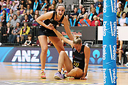 Magic goal keep Kelly Jury helps up team mate Magic captain Casey Kopua during the ANZ Premiership netball match - Magic v Tactix played at Claudelands Arena, Hamilton, New Zealand on Monday 29 May 2017. Copyright photo: Bruce Lim / www.photosport.nz