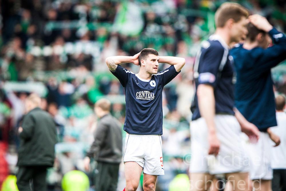Falkirk's Johnny Flynn at the end..Hibernian 4 v 3 Falkirk, William Hill Scottish Cup Semi Final, Hampden Park...
