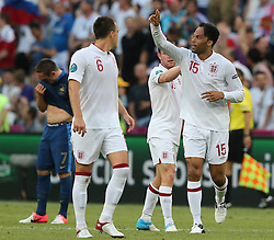 Joleon Lescott(1st R) of England celebrates his goal during the 1-1 draw in the Group D Match Against France AT The Euro 2012 Football Championships in Donetsk, Ukraine, June 11 2012. Photo By Imago/i-Images