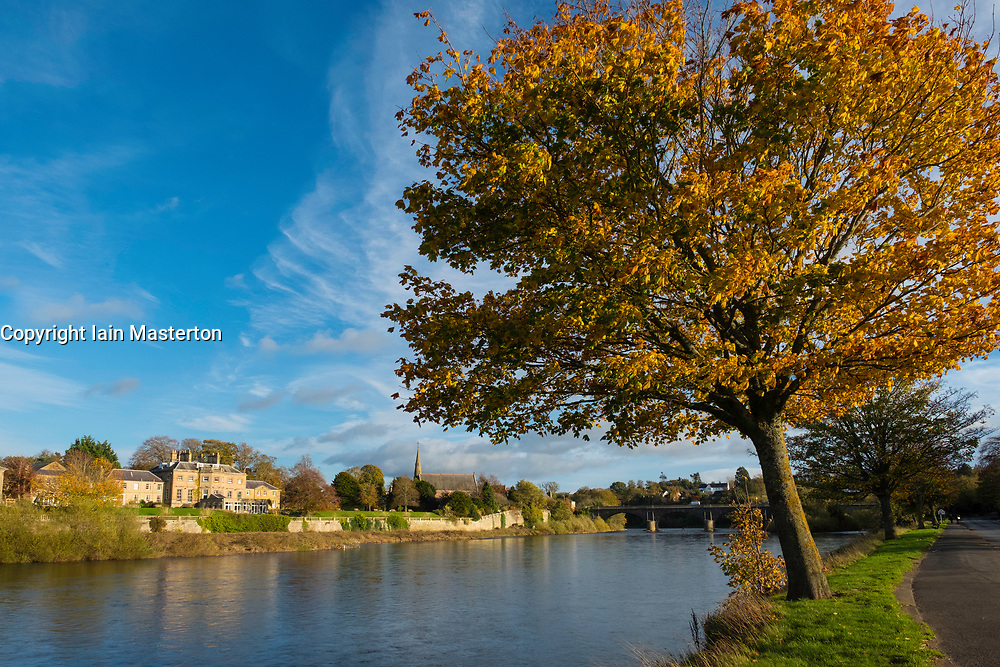View of River Tweed in Kelso in the Scottish Borders, Scotland, United Kingdom