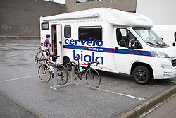 Nicole Hanselmann (SUI) of Cervélo-Bigla Cycling Team enters the team camper after finishing the 97,1 km second stage of the 2016 Ladies' Tour of Norway women's road cycling race on August 13, 2016 between Mysen and Sarpsborg, Norway. (Photo by Balint Hamvas/Velofocus)