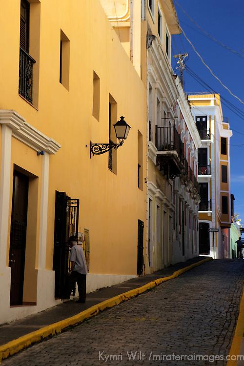 USA, Puerto Rico, San Juan. Street scene of Old San Juan.