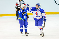 Ashton Clara of Great Britain celebrate during hockey match between Slovenia and Great Britain in IIHF World Womens Championship, Division II, Group A, on April 4, 2018 in Ledena dvorana Maribor, Maribor, Slovenia. Photo by Ziga Zupan / Sportida