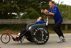 The Hoyt father and son team at mid-point of race course