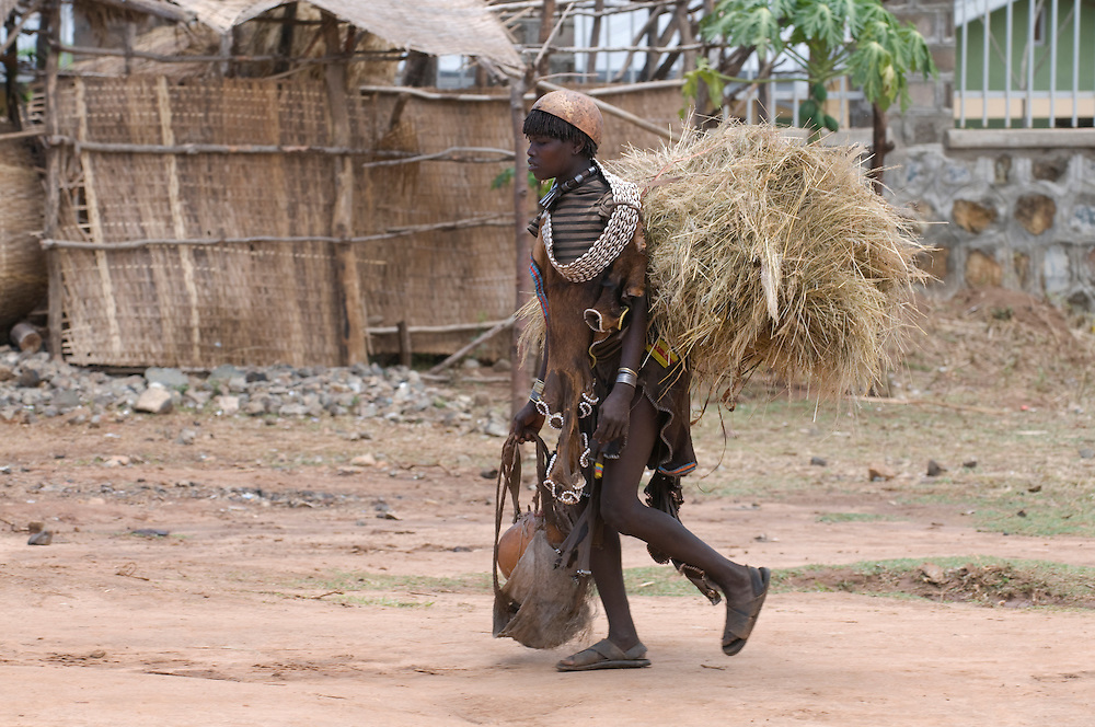 Aari villager on his way to Key afer, Key afer,Omovalley, Ethiopia,Africa