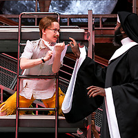 Twelfth Night by William Shakespeare;<br /> Directed by Emma Rice;<br /> Le Gateau Chocolat as Feste;<br /> Katy Owen as Malvolio;<br /> Shakespeare's Globe;<br /> London, UK;<br /> 23 May 2017<br />