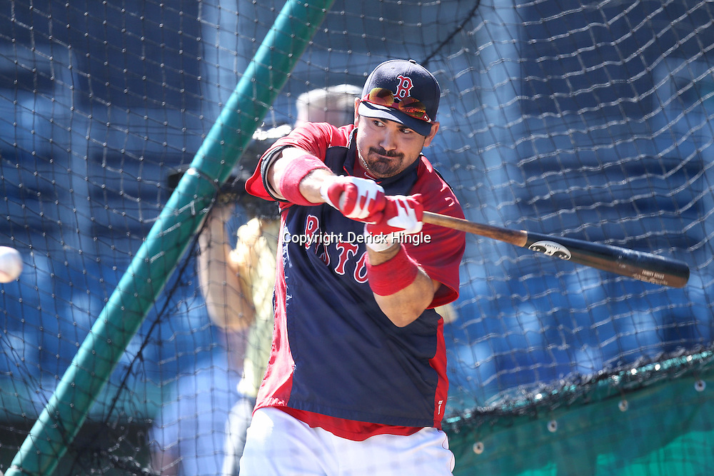 March 12, 2011; Fort Myers, FL, USA; Boston Red Sox first baseman Adrian Gonzalez (28) takes batting practice before a spring training exhibition game against the Florida Marlins at City of Palms Park.   Mandatory Credit: Derick E. Hingle