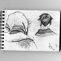 Sketchbook drawing of figures seen from behind