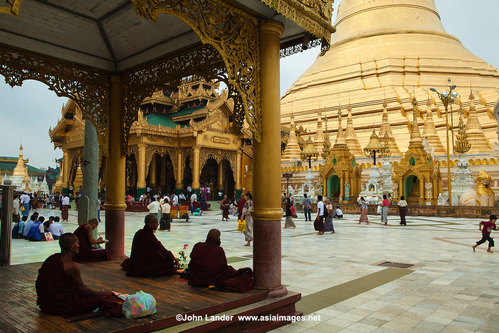 Shwedagon Pagoda officially titled Shwedagon Zedi Daw also known in English as the Great Dagon Pagoda and the Golden Pagoda, is a 99 meter gilded pagoda and stupa located in Yangon, Burma. The pagoda lies west of Kandawgyi Lake on Singuttara Hill, and dominates the skyline of Rangoon.  It is the most sacred Buddhist pagoda for the Burmese