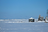 A lone silo in a snowy field