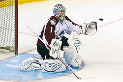 Mar 26, 2012; San Jose, CA, USA; Colorado Avalanche goalie Semyon Varlamov (1) warms up before the game against the San Jose Sharks at HP Pavilion. Mandatory Credit: Jason O. Watson-US PRESSWIRE