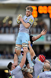Jamie Gibson of Northampton Saints wins the ball at a lineout - Mandatory byline: Patrick Khachfe/JMP - 07966 386802 - 05/12/2015 - RUGBY UNION - The Recreation Ground - Bath, England - Bath Rugby v Northampton Saints - Aviva Premiership.