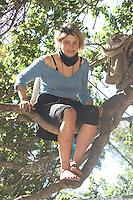 "Female Tree-Sitter ""Dumpster Muffin"" at Memorial Oak Grove, UC Berkeley, California"