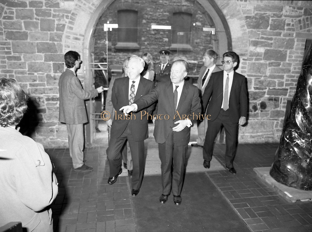 19/08/1988<br /> 08/19/1988<br /> 19 August 1988<br /> Taoiseach visits ROSC '88 at the Guinness Hop Store, Dublin. Taoiseach Charles Haughey entering the Hop Store. Mr Brian Slowey,Managing Director, Guinness,Ireland on the left.