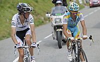 Sykkel<br /> Tour de France 2010<br /> 13.07.2010<br /> Foto: PhotoNews/Digitalsport<br /> NORWAY ONLY<br /> <br /> ANDY SCHLECK - ALBERTO CONTADOR<br /> <br /> ETAPE 9 : MORZINE AVORIAZ - SAINT-JEAN-DE-MAURIENNE