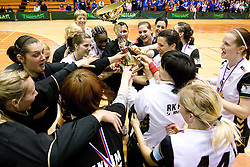 at last 10th Round handball match of Slovenian Women National Championships between RK Krim Mercator and RK Olimpija, on May 15, 2010, in Galjevica, Ljubljana, Slovenia. Olimpija defeated Krim 39-36, but Krim became Slovenian National Champion. (Photo by Vid Ponikvar / Sportida)