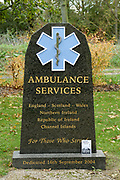 The Ambulance Services Memorial at the National Memorial Arboretum, Croxall Road, Alrewas, Burton-On-Trent,  Staffordshire, on 29 October 2018. Picture by Mick Haynes.