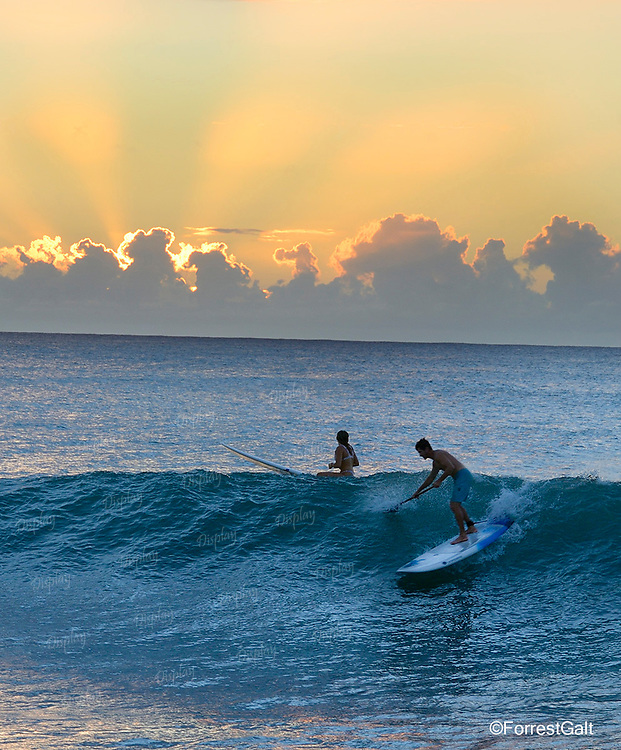 Surfing at Sunset, North Shore, Oahu