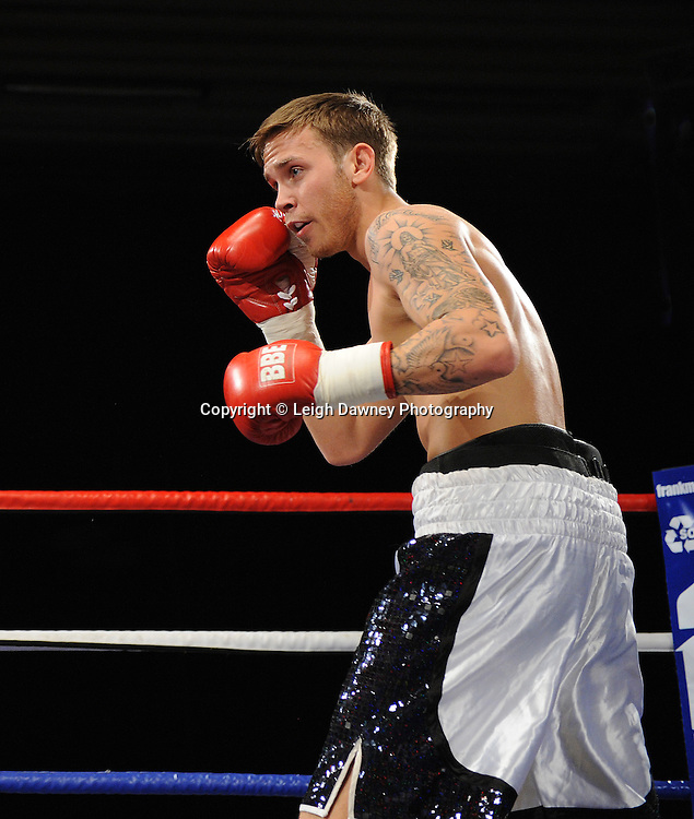 J J Bird (pictured) defeats Chris Brophy in a Light Middleweight contest at the Doncaster Dome, Doncaster, Uk, 3rd September 2011. Frank Maloney Promotions. Photo credit: Leigh Dawney 2011